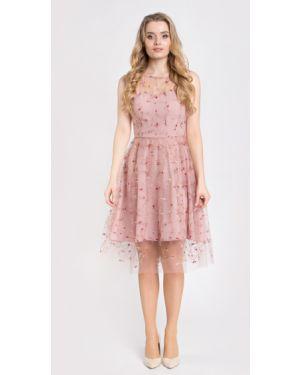 Вечернее платье с вышивкой сетчатое на молнии без рукавов Filigrana