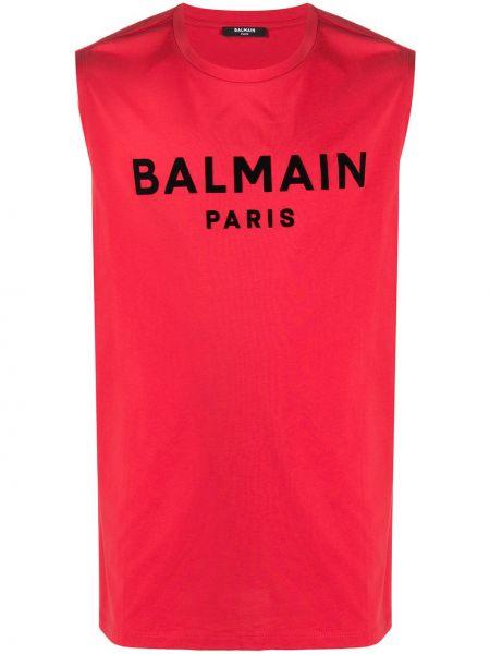 Хлопковый красный топ без рукавов Balmain