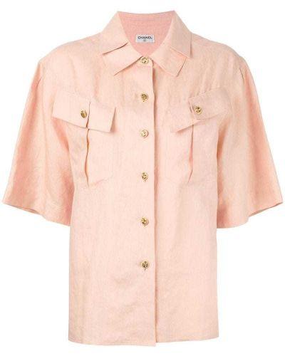 Рубашка с коротким рукавом льняная ретро Chanel Vintage