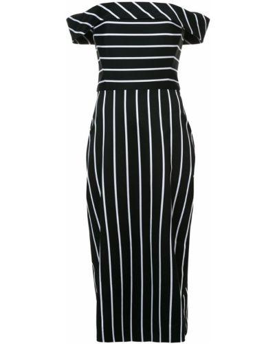Платье с открытыми плечами - черное Christian Siriano
