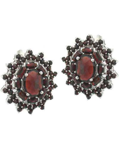 Серебряные серьги с гранатом красный Jewelry Box