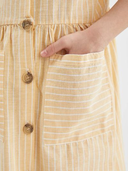 Платье в полоску - желтое Defacto