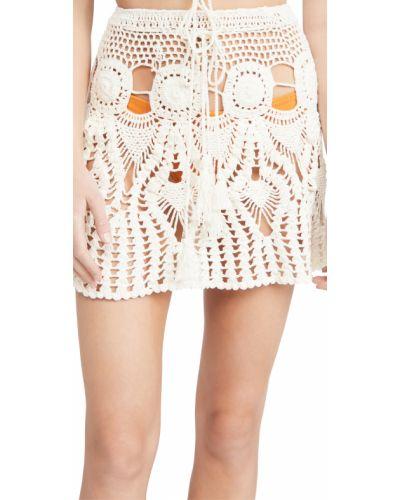 С кулиской хлопковая белая юбка Tiare Hawaii