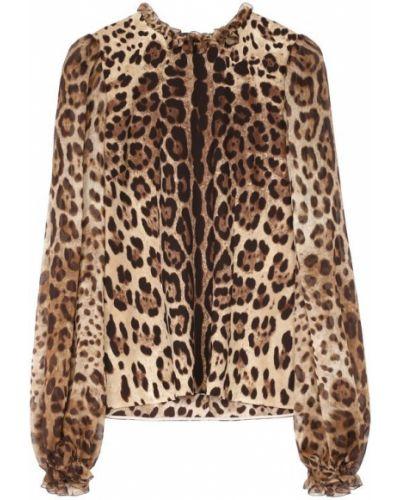 Блузка с длинным рукавом с леопардовым принтом на резинке Dolce & Gabbana