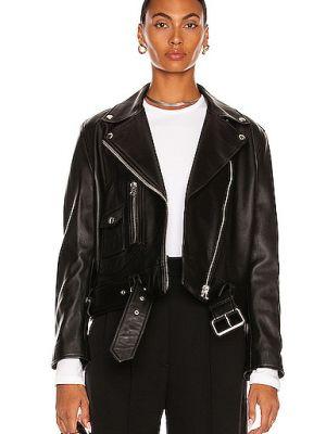 Черная кожаная куртка с воротником Acne Studios