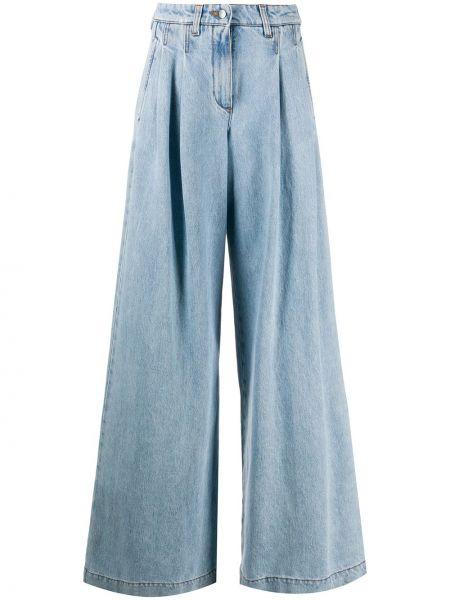 Хлопковые синие плиссированные широкие джинсы на молнии Jejia
