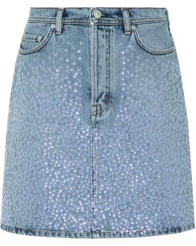 Синяя джинсовая юбка с пайетками Acne Studios