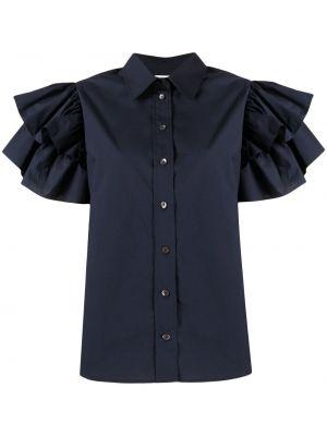 Хлопковая синяя блузка с воротником P.a.r.o.s.h.