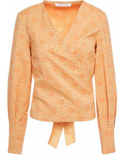 Оранжевая хлопковая плиссированная блузка SamsØe Φ SamsØe