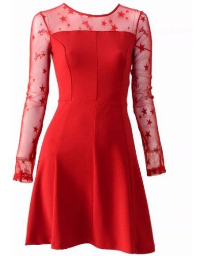 Czerwona sukienka długa zapinane na guziki Liu Jo