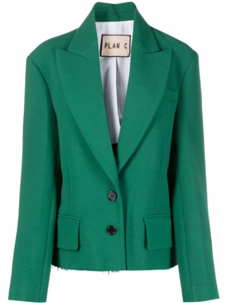 Шерстяной зеленый однобортный удлиненный пиджак Plan C