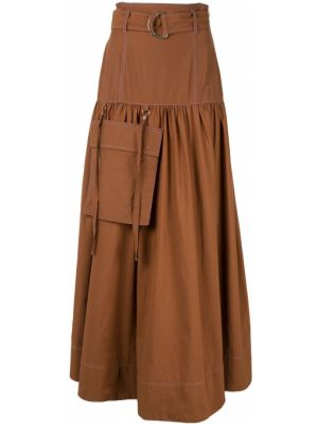 Нейлоновая расклешенная юбка с оборками с поясом G.v.g.v.