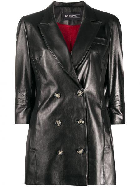 Черный кожаный пиджак двубортный Simonetta Ravizza