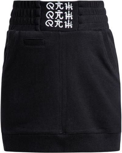 Czarna spódnica mini bawełniana z printem Showroom