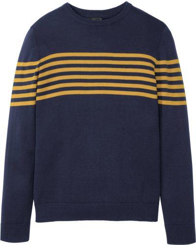Синий пуловер с вырезом круглый Bonprix