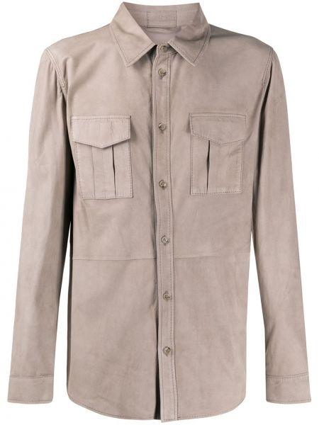 Коричневая классическая рубашка с воротником на пуговицах Desa 1972