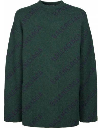 Prążkowany zielony sweter wełniany Balenciaga