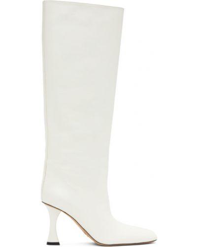 Buty na pięcie z prawdziwej skóry w połowie kolana prążkowany plac Proenza Schouler
