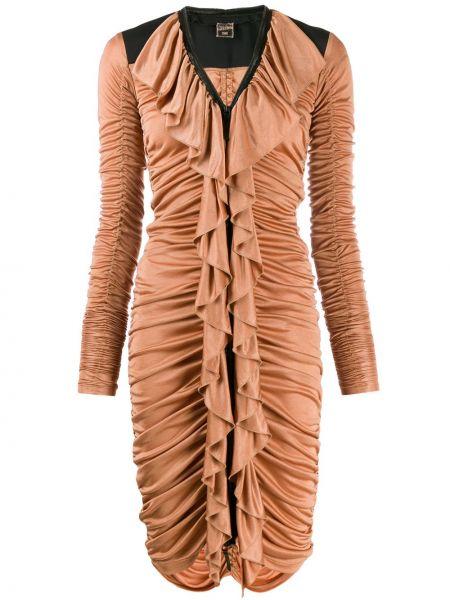 Коричневое платье винтажное на молнии из вискозы Jean Paul Gaultier Pre-owned