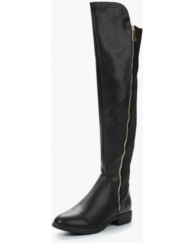 Черные кожаные ботфорты Haily's