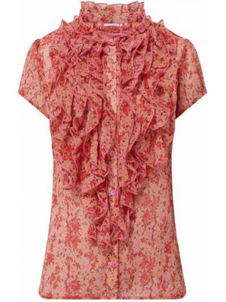 Bluzka z falbaną z falbanami - różowa Saint Tropez