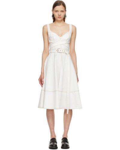 Белое джинсовое платье с поясом без рукавов Alexander Mcqueen