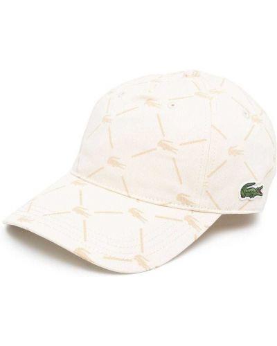 Beżowa czapka bawełniana z haftem Lacoste Live