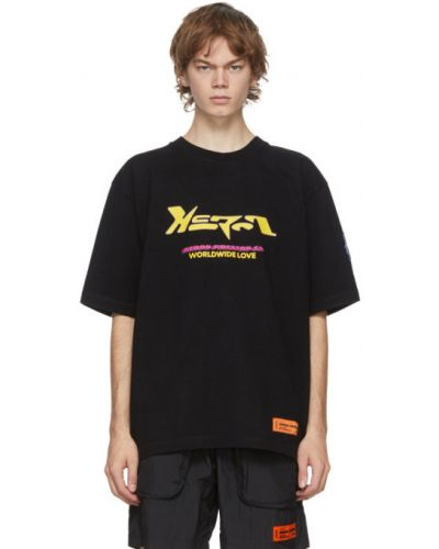Bawełna czarny koszula krótkie z krótkim rękawem z haftem z kołnierzem Heron Preston