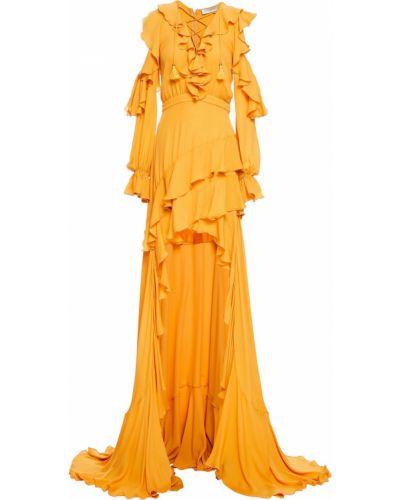 Асимметричное шелковое платье с подкладкой Elie Saab