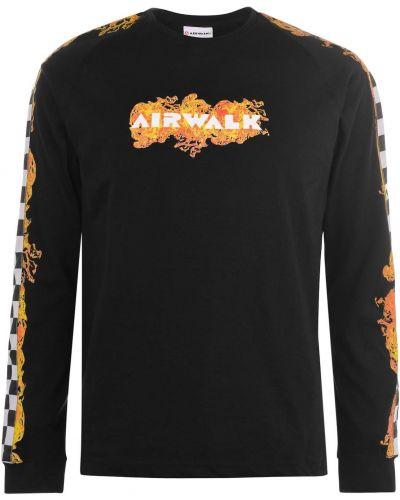 Prążkowany t-shirt na co dzień z długimi rękawami Airwalk