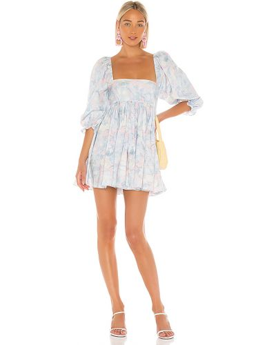 Niebieska sukienka bawełniana z printem Selkie