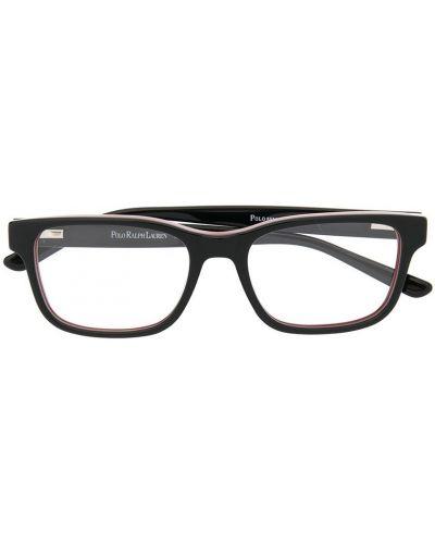 Черные очки прямоугольные с нашивками Polo Ralph Lauren