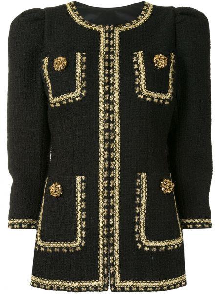 Прямая черная длинная куртка с опушкой твидовая Andrew Gn
