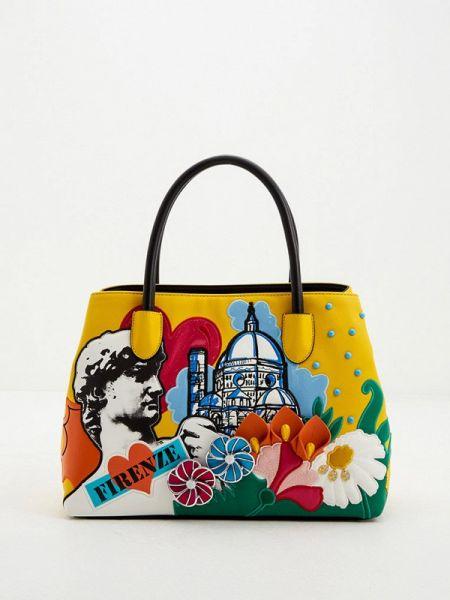 Кожаная сумка с ручками желтый Braccialini