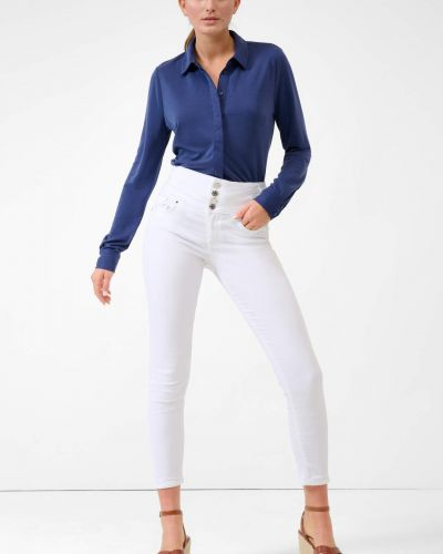 Białe spodnie rurki bawełniane zapinane na guziki Orsay