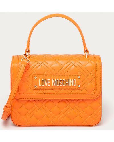 Pomarańczowa torba z krótkimi uchwytami Love Moschino