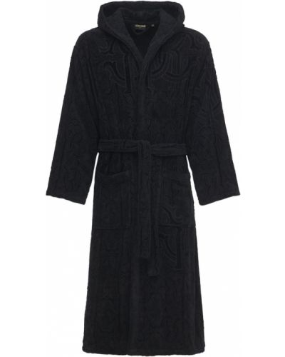 Czarny szlafrok bawełniany z kapturem Roberto Cavalli