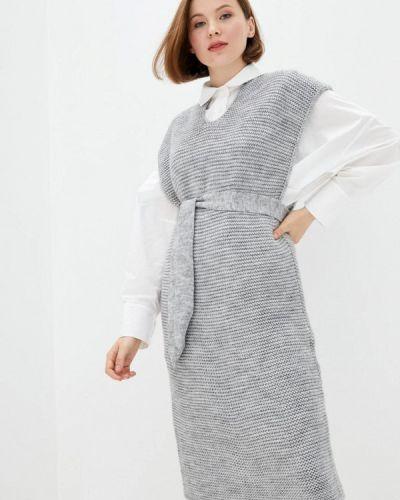 Серое вязаное платье Прованс
