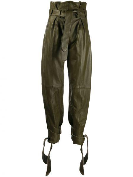 Zielone spodnie z wysokim stanem skorzane Attico