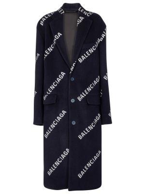 Niebieski płaszcz wełniany Balenciaga
