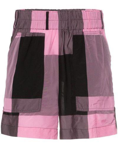Спортивные шорты в клетку розовый Ganni