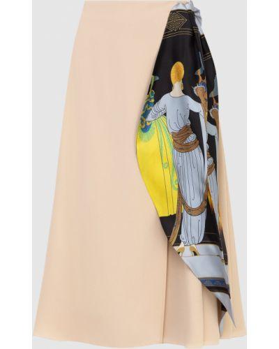 Шелковая юбка миди - бежевая Lanvin
