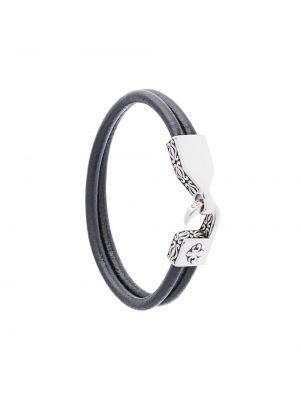 Кожаный коричневый браслет на крючках Nialaya Jewelry
