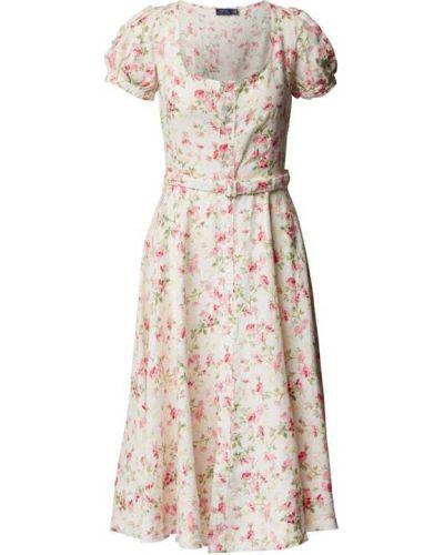 Sukienka rozkloszowana - biała Polo Ralph Lauren