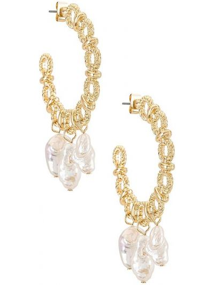 Złote kolczyki sztyfty perły pozłacane Ettika