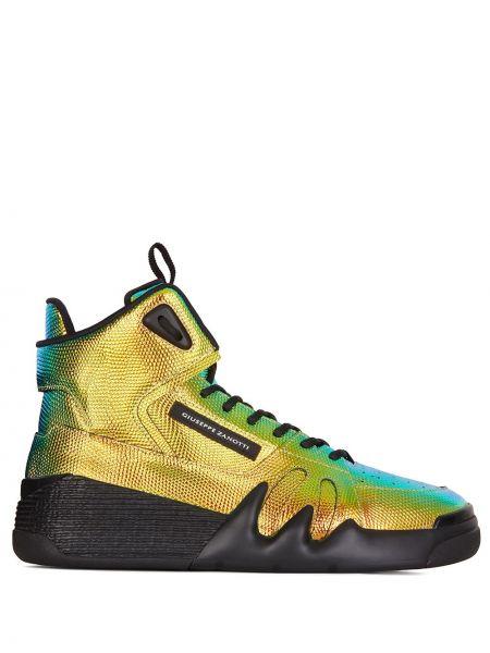 Ażurowy skórzany sneakersy złoto z łatami Giuseppe Zanotti