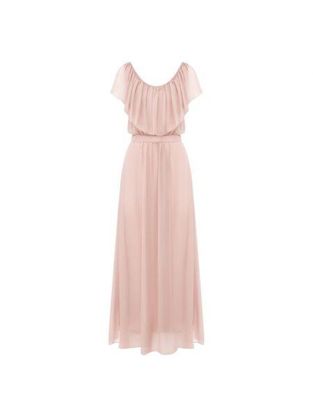 Шелковое розовое платье с оборками Giorgio Armani