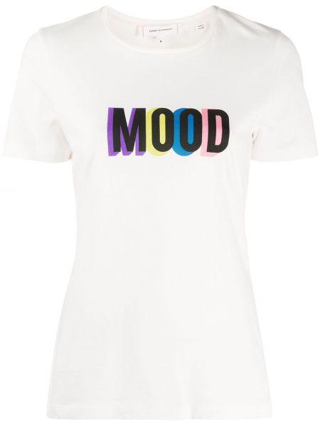Хлопковая белая прямая футболка с круглым вырезом Chinti & Parker