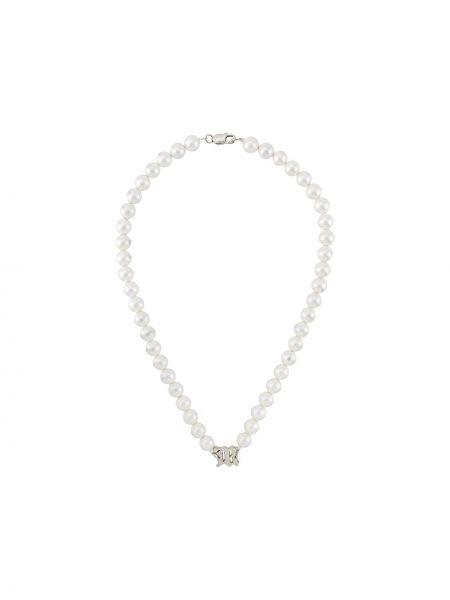 Naszyjnik z perłami biały zielony Misbhv