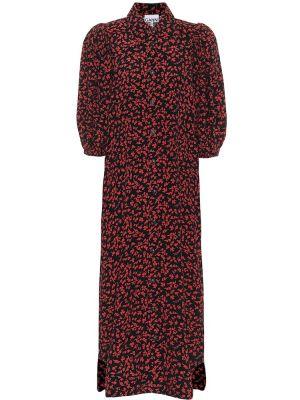 Czarna sukienka midi z wiskozy Ganni